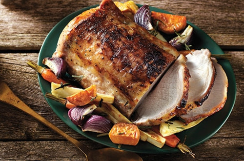 Maple-Glazed Pork with Roasted Root Vegetables