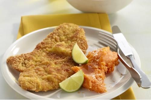 Knorr - Curryschnitzel auf Süßkartoffelpüree und Kokosbutter