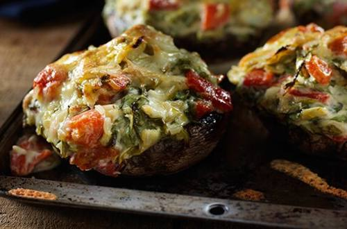 Arugula & Artichoke Stuffed Portobello Mushrooms
