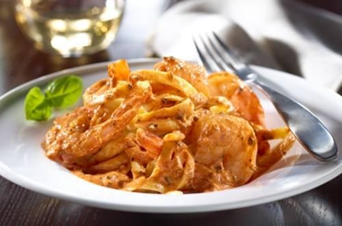 Shrimp Fettuccine with Creamy Tomato Sauce