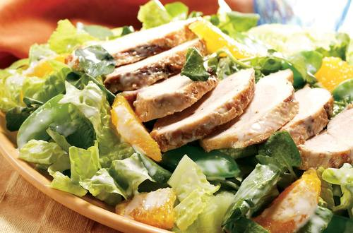 Warm Gingered Chicken Salad with Crispy Greens