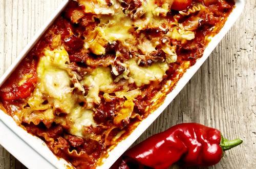 Lasagnette med kylling og chorizo