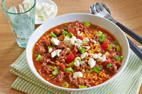 Linsen-Chili mit Feta Ausschnitt