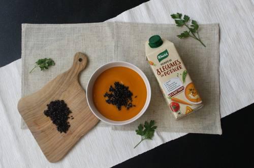 Riz complet poppé et soupe Knorr