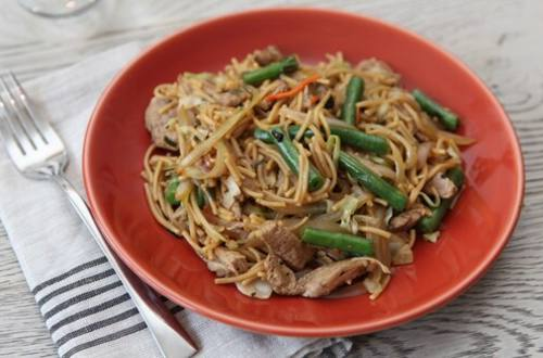 Pork, Napa & Green Beans with Lo Mein Noodles