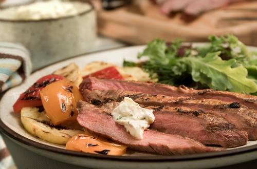 Chipotle Flank Steak with Creamy Cilantro Sauce