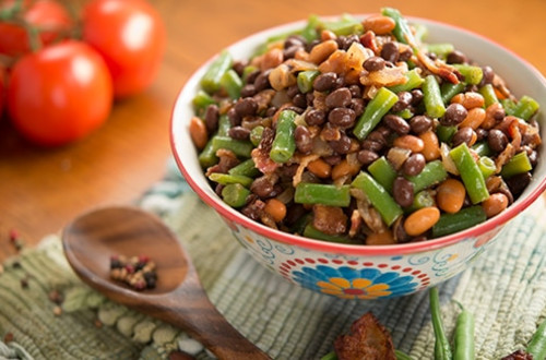 Black, Pink and Green Bean Salad