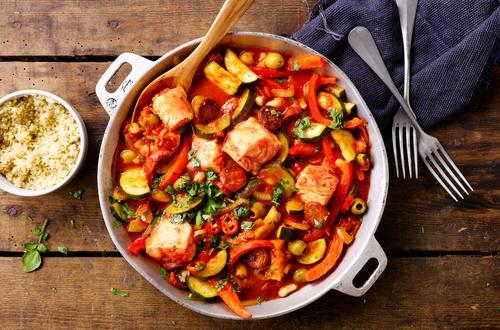 Lachs-Chorizo-Pfanne