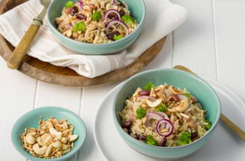 Cheesy Rice with Sweet Onions & Toasted Nuts