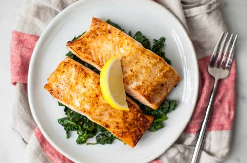 Chipotle-Honey Glazed Salmon with Creamed Spinach