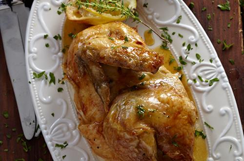 Κοτόπουλο με θυμάρι και λεμόνι