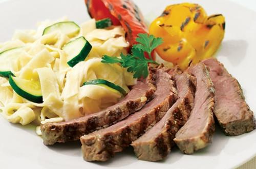 Italian Steak & Vegetables with Alfredo Pasta
