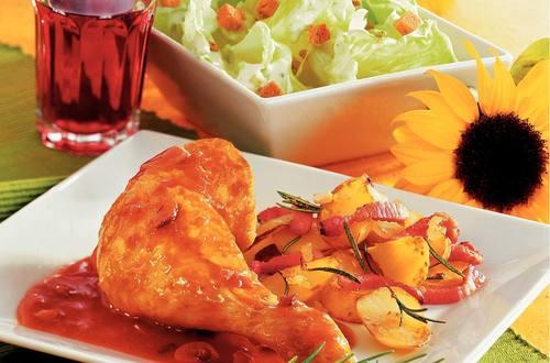 Knorr - Hühnchenkeulen in Rotweinsauce