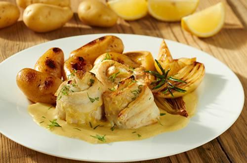 Gebakken kabeljauw met mosterdsaus