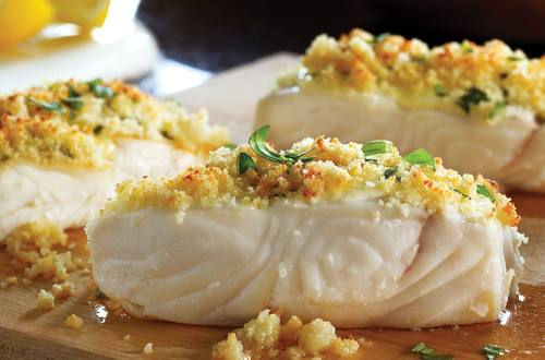 Grilled Halibut with Lemon-Herb Crust