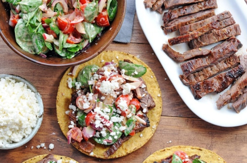 Grilled Skirt Steak Tostadas