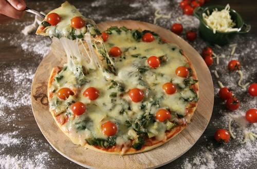 Pizza de liquidificador de escarola