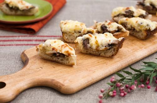 Italian Sausage Mushroom & Cheese Toasts