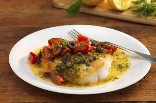 cod with rosemary and vine tomatoes vinaigrette