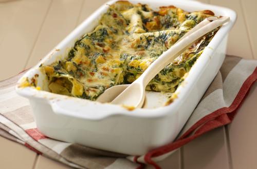 Einfache Lasagne mit Kürbis und Spinat