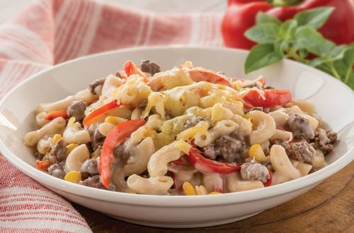 Beef Macaroni Recipe with Corn & Capsicum.
