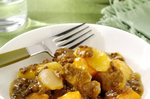 Blanquette de veau au potiron, pommes et lentiles