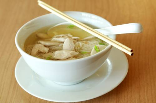 CHICKEN SOUP WITH POTATO MATCH STICKS RECIPE