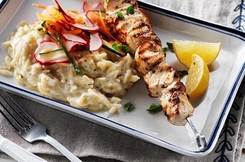 Souvlaki Chicken with Creamy Lemon Orzo & Shaved Spring Vegetable Salad
