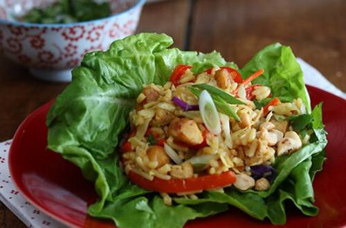 Chicken Fried Rice Lettuce Cups