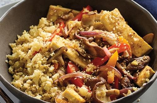 Cauliflower Rice with Tofu Veggie Stir-Fry