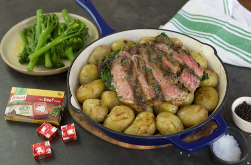 Steak and Potatoes with Seasoned Butter