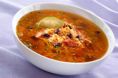 Arroz En Sopa Con Frijoles Y Con Chorizo