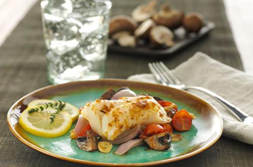 Roasted Cod with Mushrooms