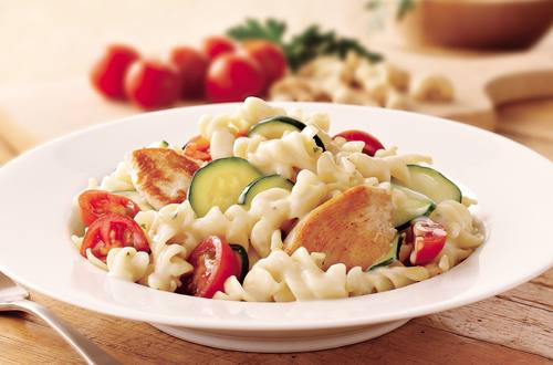 Cherry Tomatoes, Zucchini & Chicken Alfredo Recipe