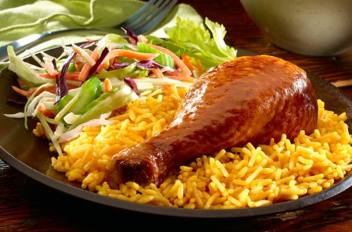 Rotisserie Chicken with Buffalo Rice & Ranch Slaw