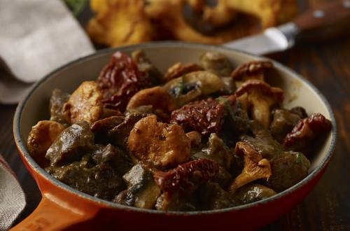 Oksekød med svampe