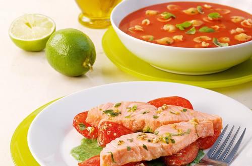 Knorr - Gegrillter Limettenlachs nach Veroneser Art mit Tomaten und Spinat