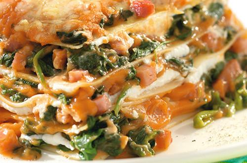 Lasagne aux épinards et jambon