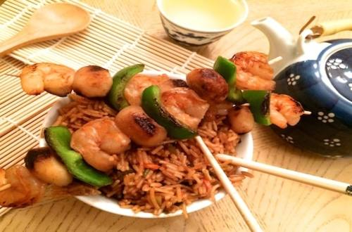 Asian Shrimp Kabobs with Teriyaki Rice