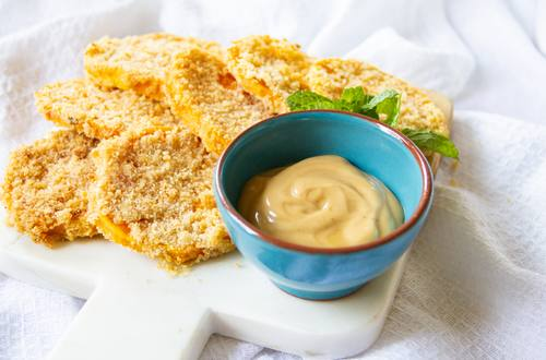 Sweet potato katsu with teriyaki mayo