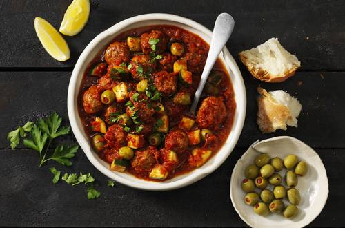 Spanish Meatballs with Zucchini & Olives
