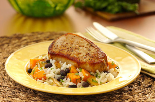 Pork Chops with Sweet Potato & Black Bean Rice