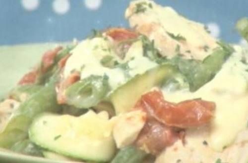 Ensalada de pollo, zucchinis y tomates