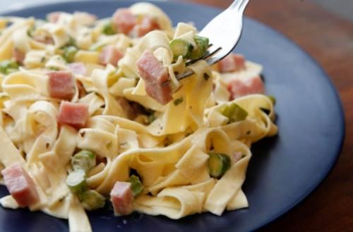 Fettuccine with Ham & Asparagus