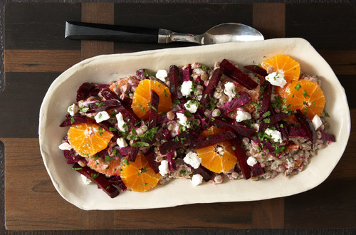 Salade de lentilles aux agrumes avec fromage de chèvre