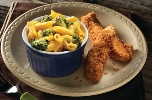 Easy Cheddar Broccoli Pasta with Crispy Chicken Fingers