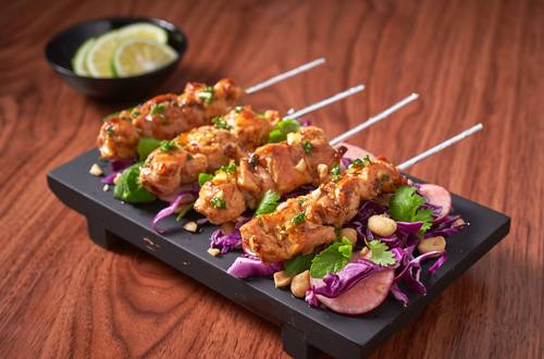 Pork Skewers with Cilantro-Mint Salad