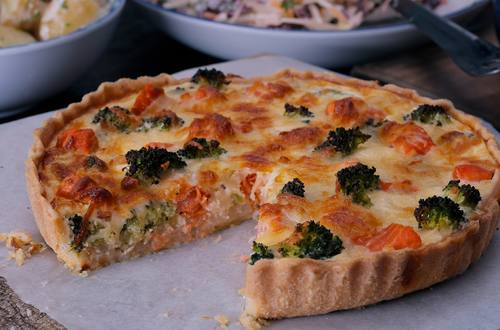 Salmon broccoli quiche