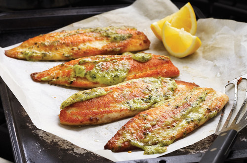Pesto Glazed Tilapia Filets