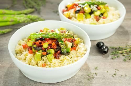 Arroz integral con carne y verduras